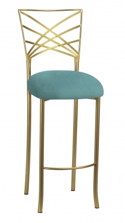 Gold Fanfare Barstool with Turquoise Suede Cushion (2)