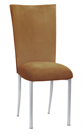 Camel Suede Chair Cover and Cushion on Silver Legs (2)