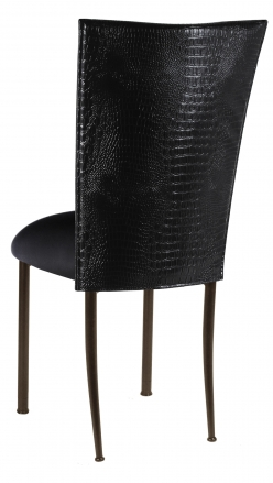 Black Croc Chair Cover and Black Stretch Knit Cushion on Brown Legs (1)