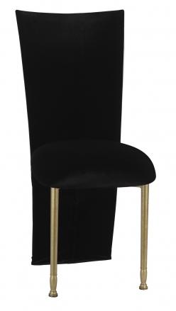 Black Velvet Zig Zag Black Lace Jacket with Black Stretch Knit Cushion on Gold Legs (2)