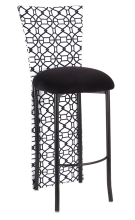 Black and White Kaleidoscope Barstool Jacket with Black Suede Cushion on Brown Legs (2)