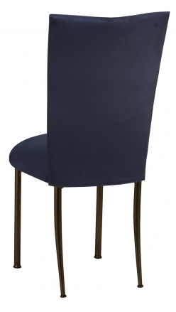 Navy Suede Chair Cover and Cushion on Brown Legs (1)