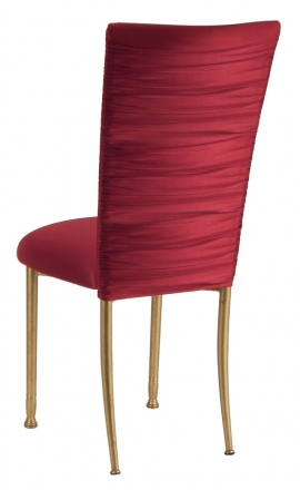Chloe Cranberry Stretch Knit Chair Cover and Cushion on Gold Legs (1)