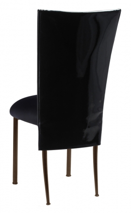 Black Patent 3/4 Chair Cover with Black Stretch Knit Cushion on Brown Legs (1)