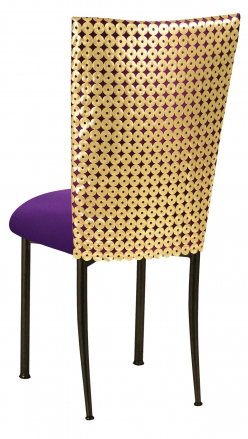 Dragon Eyes Chair Cover with Plum Knit Cushion on Brown Legs (1)