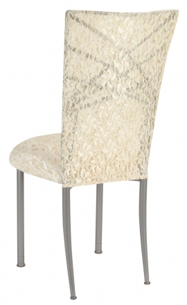 Silver Fanfare with Ivory Lace Chair Cover and Ivory Lace over Ivory Stretch Knit Cushion (1)