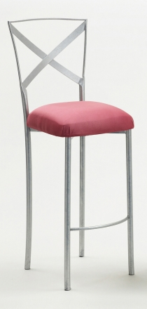 Simply X Barstool with Raspberry Suede Cushion (2)