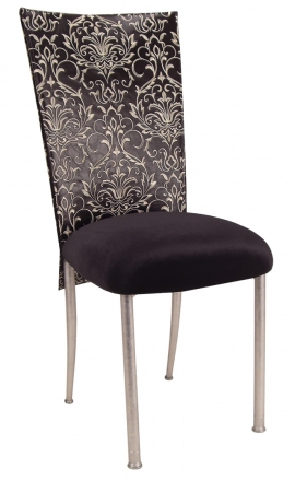Black and White Dynasty Chair Cover with Black Stretch Knit Cushion on Silver Legs (2)