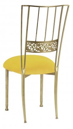 Gold Bella Fleur with Sunshine Yellow Velvet Cushion (1)
