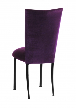 Eggplant Velvet Chair Cover and Cushion on Black Legs (1)