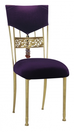 Eggplant Velvet Hat and Tassel Chair Cover with Cushion on Gold Bella Fleur (2)