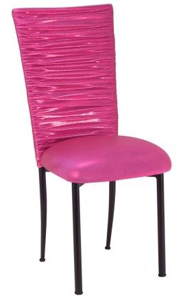 Chloe Metallic Fuchsia Stretch Knit Chair Cover and Cushion on Brown Legs (2)