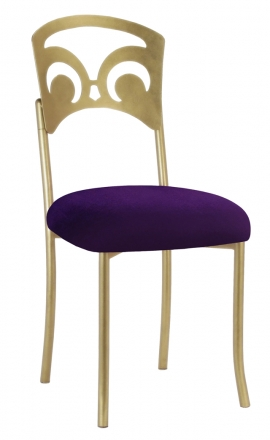 Gold Fleur de Lis with Eggplant Velvet Cushion (2)