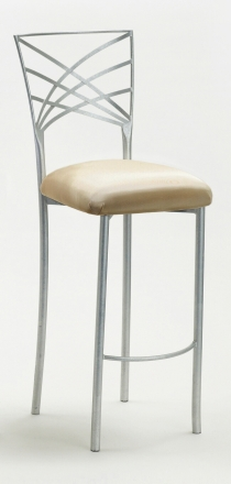 Silver Fanfare Barstool with Champagne Bengaline Cushion (2)