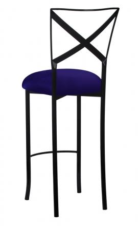 Blak. Barstool with Navy Stretch Knit Cushion (1)