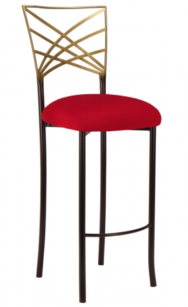 Two Tone Gold Fanfare Barstool with Red Stretch Knit Cushion (2)