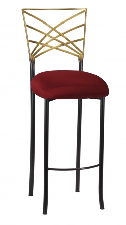 Two Tone Fanfare Gold Barstool with Burnt Red Dupioni Boxed Cushion (2)