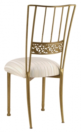 Gold Bella Fleur with Ivory Sateen Stripe Cushion (1)