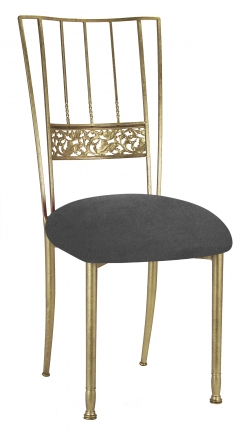 Gold Bella Fleur with Charcoal Suede Cushion (2)