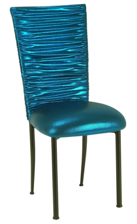 Chloe Metallic Teal Stretch Knit Chair Cover and Cushion on Brown Legs (2)