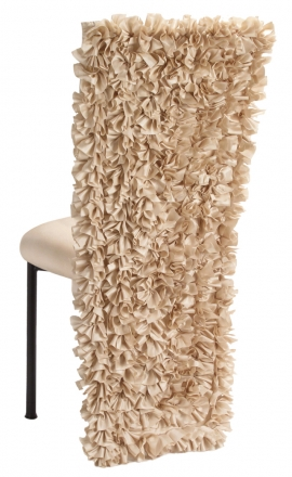 Champagne Ruffle Chair Cover with Champagne Bengaline Cushion on Brown Legs (1)