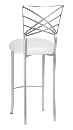 Silver Fanfare Barstool with Metallic White Cushion (1)