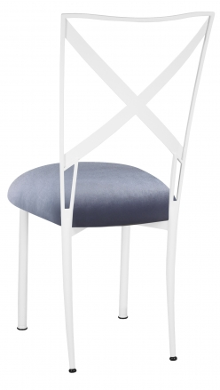 Simply X White with Steel Velvet Cushion (1)