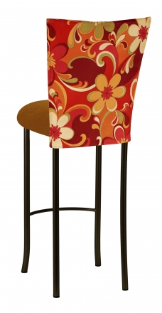 Groovy Suede Barstool Cover with Copper Suede Cushion on Black Legs (1)