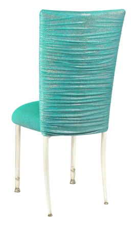 Chloe Mermaid Stretch Knit Chair Cover and Cushion on Ivory Legs (1)