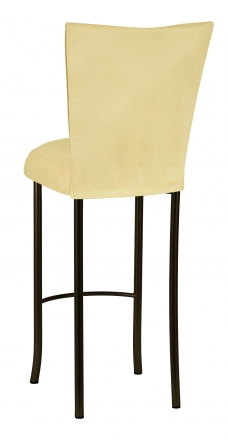 Buttercup Suede Barstool Cover and Cushion on Brown Legs (1)