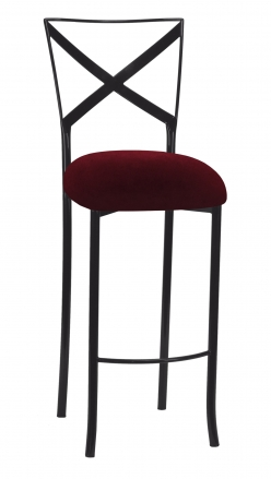 Blak. Barstool with Cranberry Velvet Cushion (2)