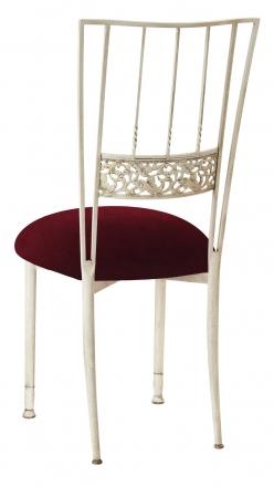Ivory Bella Fleur with Cranberry Velvet Cushion (1)