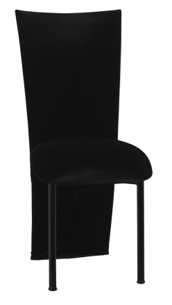 Black Velvet Zig Zag Black Lace Jacket with Black Stretch Knit Cushion on Black Legs (2)