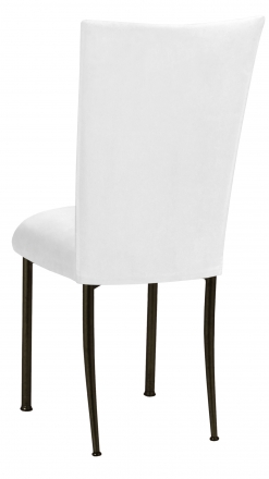 White Suede Chair Cover and Cushion on Brown Legs (1)