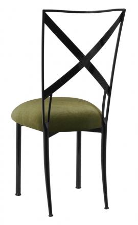 Blak. with Olive Velvet Cushion (1)