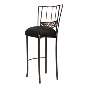 Bella Fleur Mahogany Barstool with Black Stretch Knit Cushion (1)