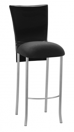 Black Patent Barstool Cover with Bow Belt and Cushion on Silver Legs (2)