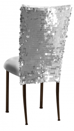 Silver Confetti Stretch Knit Chair Cover and Silver Stretch Knit Cushion on Brown Legs (1)