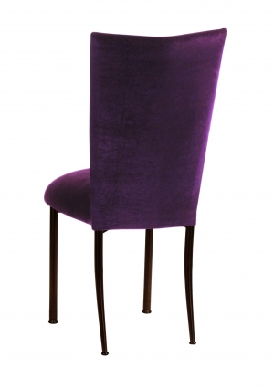 Eggplant Velvet Chair Cover and Cushion on Brown Legs (1)