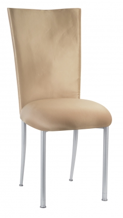 Champagne Deore Chair Cover with Buttercream Cushion on Silver Legs (2)