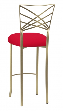 Gold Fanfare Barstool with Million Dollar Red Knit Cushion (1)
