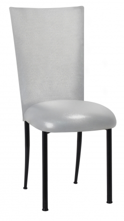 Metallic Silver Stretch Knit Chair Cover and Cushion on Black Legs (2)