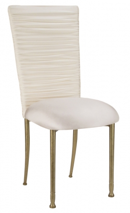 Chloe Ivory Stretch Knit Chair Cover and Cushion on Gold Legs (2)