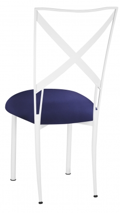 Simply X White with Navy Stretch Knit Cushion (1)