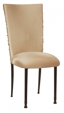 Beige Demure Chair Cover with Beige Stretch Knit Cushion on Mahogany Legs (2)
