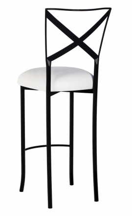 Blak. Barstool with White Suede Cushion (1)