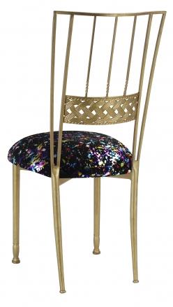 Gold Bella Braid with Black Paint Splatter Knit Cushion (1)