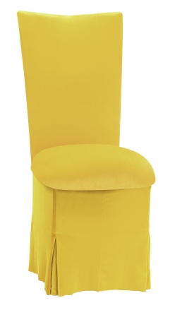 Sunshine Yellow Velvet Chair Cover, Cushion and Skirt (2)