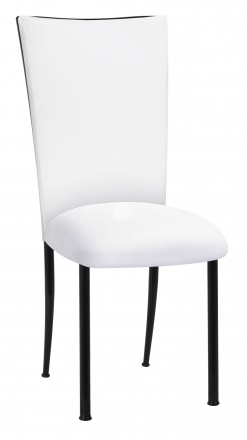 White Suede Chair Cover and Cushion on Black Legs (2)