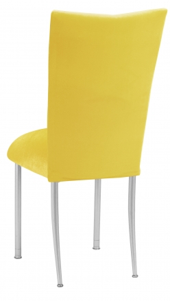 Sunshine Yellow Velvet Chair Cover and Cushion on Silver Legs (1)